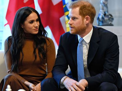 Britain's Prince Harry and Meghan, Duchess of Sussex gesture during their visit to Canada House in thanks for the warm Canadian hospitality and support they received during their recent stay in Canada, in London, Tuesday, Jan. 7, 2020