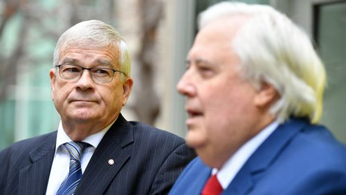 Former One Nation Senator Brian Burston and businessman Clive Palmer at a press conference to announce the formation of the United Australia Party. Picture: AAP