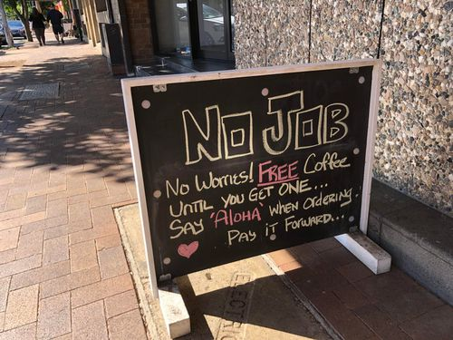 Coffee shop sign on the Northern Beaches of Sydney