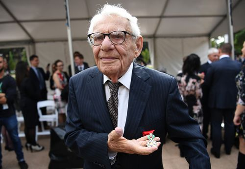 Louis Solomons with his honour. Picture: AAP