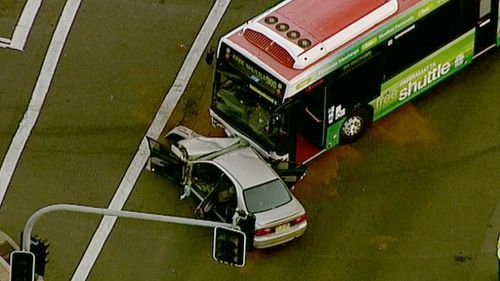 The car and bus collided about 4pm. (9NEWS)