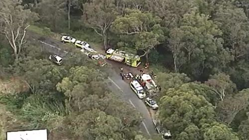 A woman has been rescued from her car after it crashed down an embankment on the Gold Coast hinterland. (9NEWS)