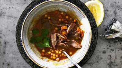Cinnamon spiced lamb soup with pearl couscous