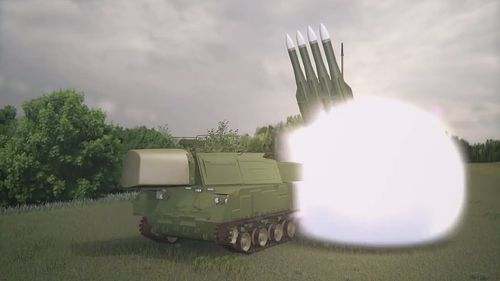 A graphic showing a Buk missile, similar to the one that investigators believe shot down flight MH17.