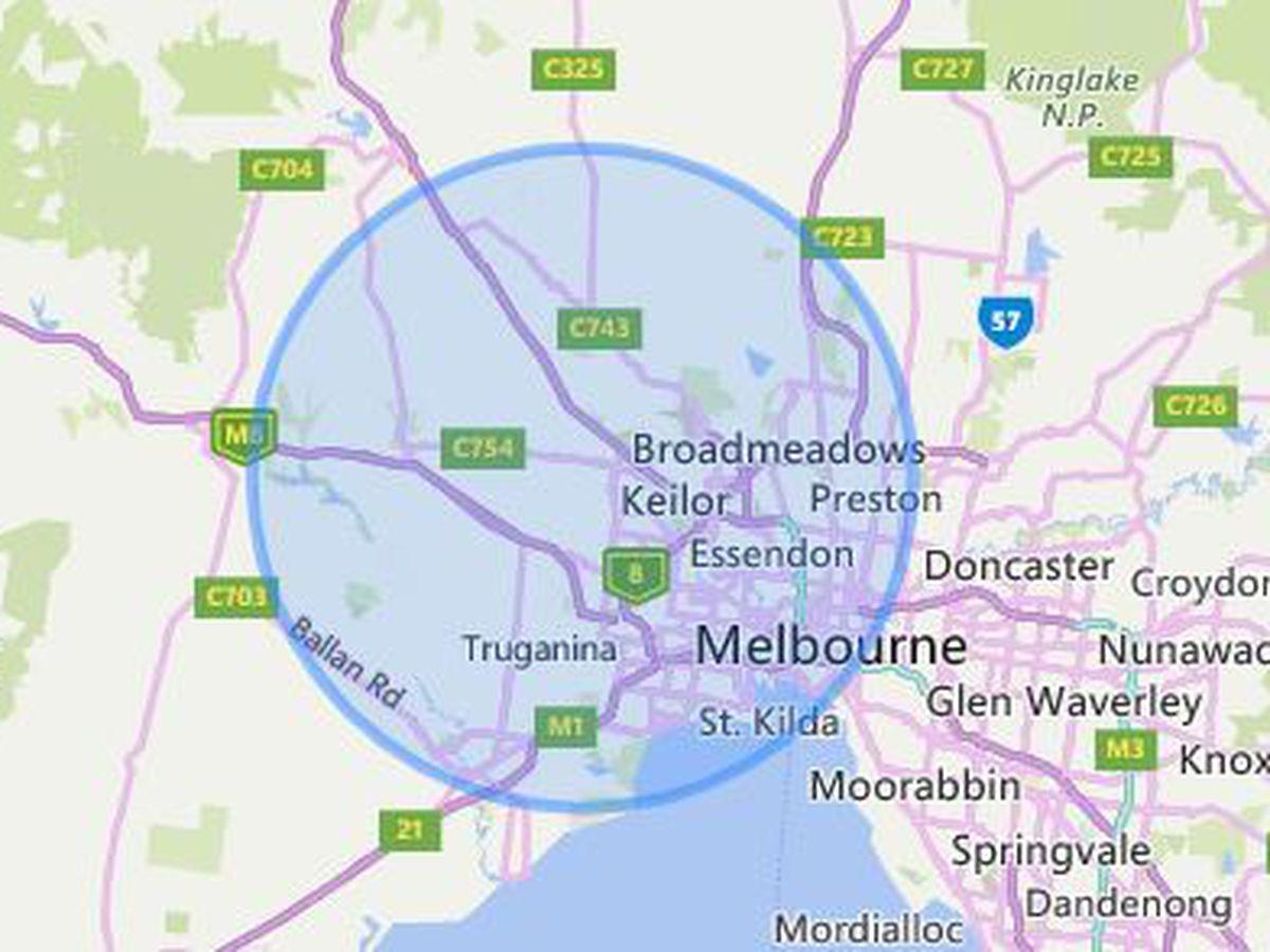 25km radius bubble in Melbourne