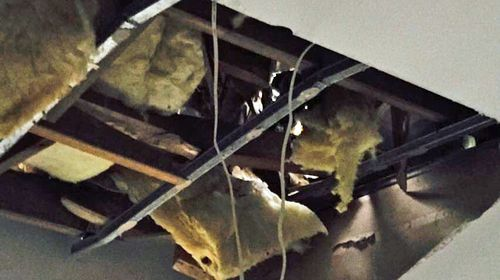 The damaged roof which led to Lucy Wicks' health problems with mould.