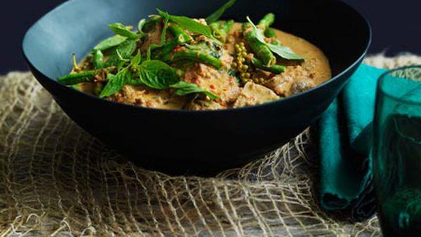 Pork neck, snake bean and peppercorn curry