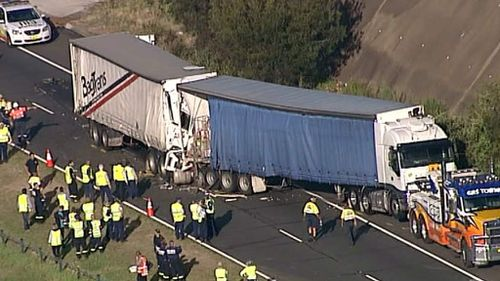 The surviving truck driver has been taken to hospital as a precaution. (9NEWS)