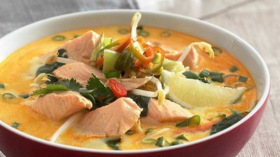 "<a href=""http://kitchen.nine.com.au/2017/06/07/09/53/salmon-laksa"" target=""_top"">15-minute salmon laksa</a><br /> <br /> <a href=""http://kitchen.nine.com.au/2017/06/07/10/10/luscious-laksa-and-coconut-soups"" target=""_top"">More laksa recipes</a>"