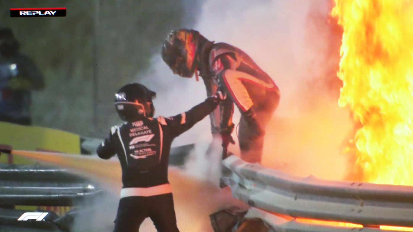 Romain Grosjean reveals burns on right hand after fireball crash at F1 Bahrain GP