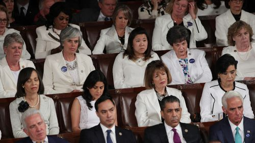 Members of congress wore white to honor the women's suffrage movement and support women's rights. (AFP)