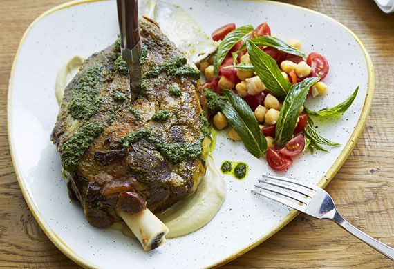 Slow-roasted Moran family lamb shoulder with chermoula, zucchini and mint