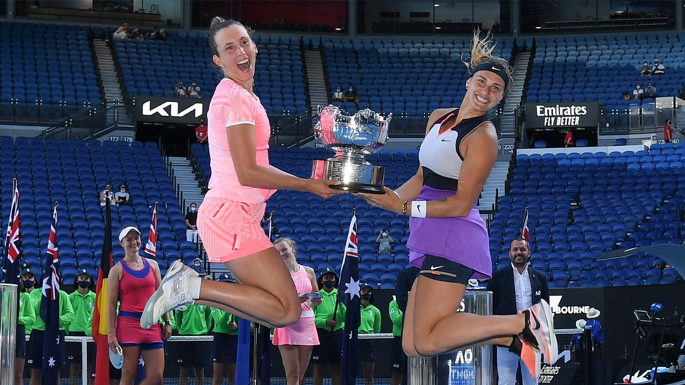 Aryna Sabalenka charms with celebration dance after winning Australian Open doubles crown with Elise Mertens