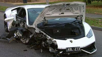 Lamborghini crumbled mess after crash