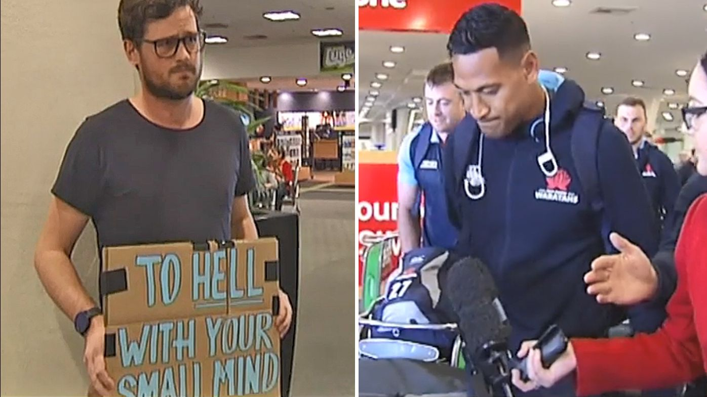 Israel Folau and NSW Waratahs met by protest at Christchurch Airport