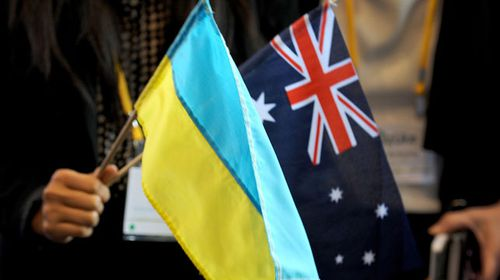Australian and Ukraine flags at the award ceremony.