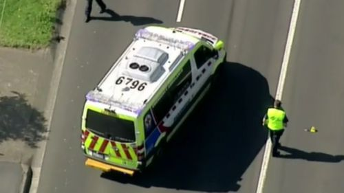Emergency services on High Street, Doncaster, about 1.30pm on Sunday. (9NEWS)