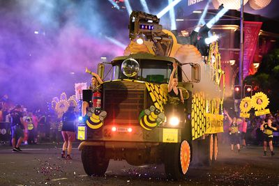 A bee-themed float truck. (AAP)