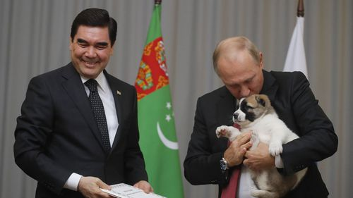 Vladimir Putin plays with a puppy gifted to him by Gurbanguly Berdymukhamedov.