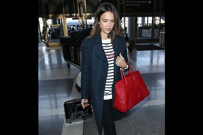 Just eighty bucks on Jessica Alba's striped Talbot sweater? We could swing that style! We might struggle with the $3200 Saint Laurent leather tote, though.