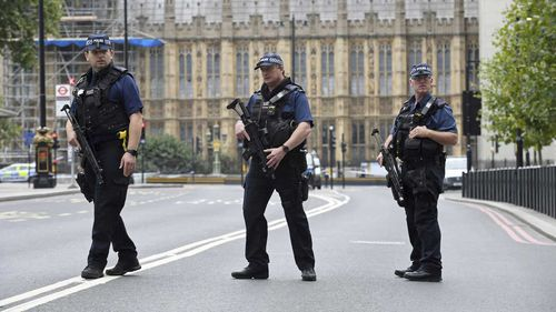 The area around the UK Houses of Parliament in London was locked down after the crash and armed police remained on the scene for some time.