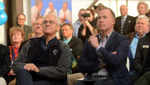 Malcolm Turnbull and Tasmanian premier Will Hodgman at the Liberals' Braddon campaign launch. (AAP)