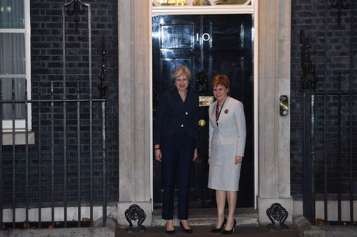 UK Prime Minister Theresa May (left) greets Scottish First Minister Nicola Sturgeon (right) at 10 Downing Street ahead of talks (Image: PA)