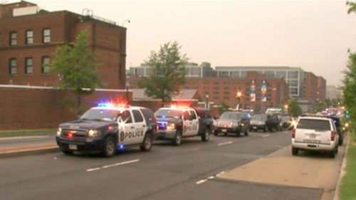 Police and other federal agency vehicles on the scene in Washington DC.