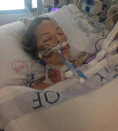 After surgery, Ms Hubbard was taken to the ICU, where she was intubated as they pumped more than 17 bags of blood in her. (Supplied)