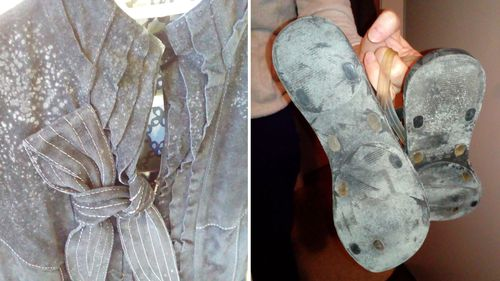 Mould covered shoes and clothes from inside the Ermington home. Mr Aminovs said the family had been forced to get rid of a large proportion of their furniture and clothes three times in five years because of mould damage.