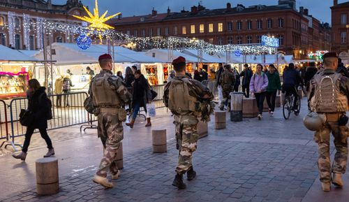 Security at a Christmas market in Toulouse, France after the Strasbourg attack.