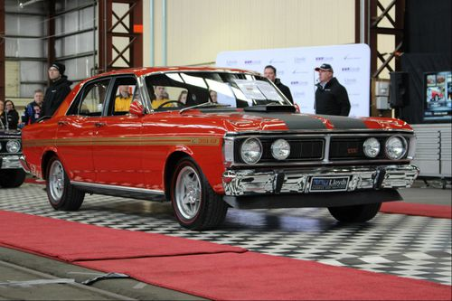 A rare red Ford GTHO Phase III Falcon has sold for more than $1 million at auction. (Supplied)