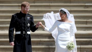 By deciding not to shave, Prince Harry became the first Royal to marry wearing a beard in 125 years. Picture: PA