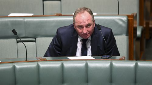 Special Drought envoy Barnaby Joyce reacts during a motion to suspend standing orders calling for government intervention for the dairy industry in the House of Representatives at Parliament House in Canberra, February, 2019.