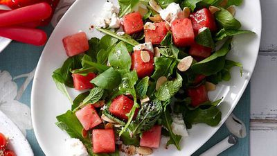 "Beat the heat with our beautiful <a href=""http://kitchen.nine.com.au/2016/05/16/13/42/watermelon-salad"" target=""_top"">watermelon salad</a> recipe"