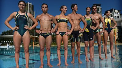 The green and gold Speedo suits will be worn by members of Australia's swimming, diving and water polo teams.