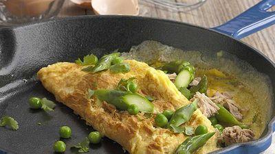 "Recipe:<a href=""http://kitchen.nine.com.au/2016/05/05/13/54/asparagus-pea-and-tuna-omelette"" target=""_top"">Asparagus, pea and tuna omelette</a>"