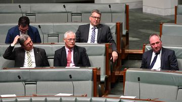 Barnaby Joyce (right) and other Nationals colleagues.