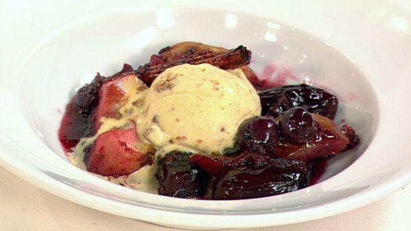 Roasted winter fruit salad with cinnamon ice-cream