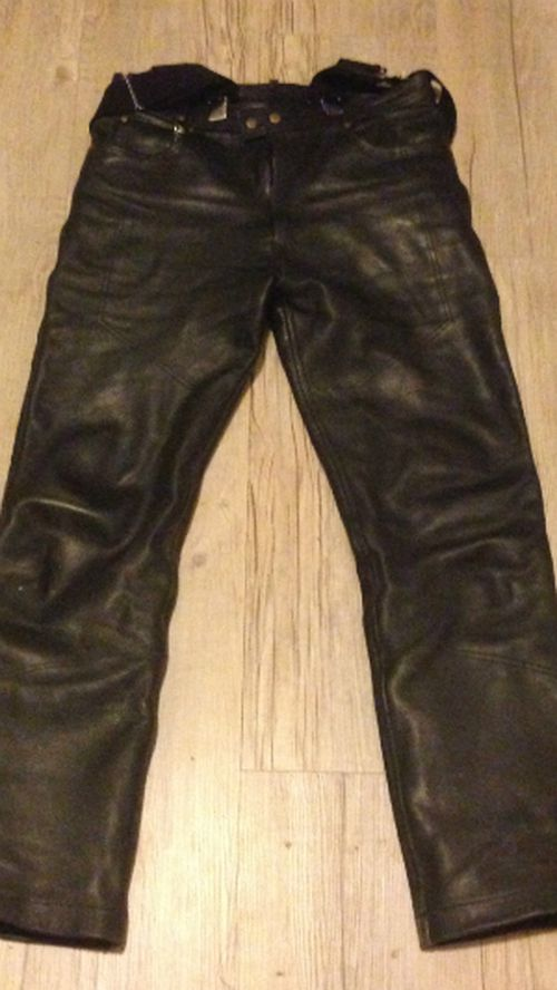 Reporter Simon Bouda's leather pants from the Black Dog Ride Around Australia.