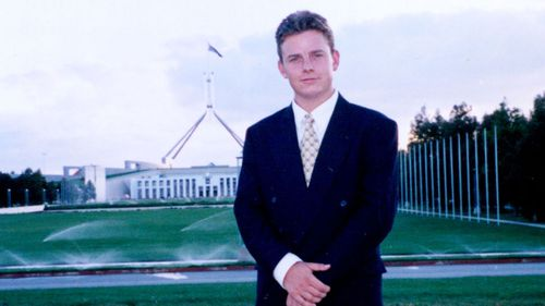 Ben Fordham stands in front of Parliament House in Canberra in this February 1, 1999 photo.