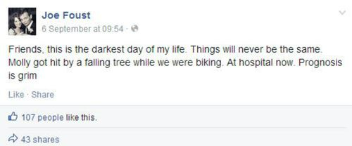 Mr Foust posted updates on his wife's condition following the accident. (Facebook)