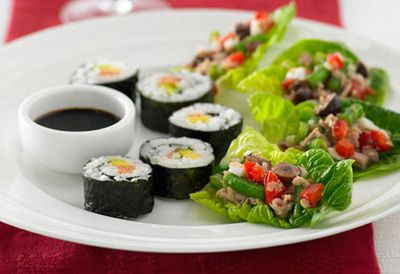 Sushi rolls with smoked salmon