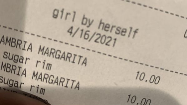 'The Cake Lady's' bar receipt.