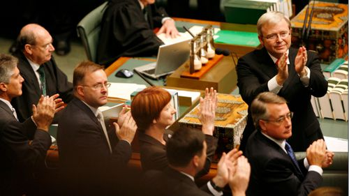 Then Prime Minister Kevin Rudd turns to the Indigenous people in the House of Representatives Chamber to acknowledge them after giving his apology speech to the Stolen Generation in 2008.