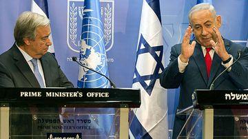 UN Secretary-General Antonio Guterres and Israel PM Benjamin Netanyahu in Jerusalem. (Photo: EPA).