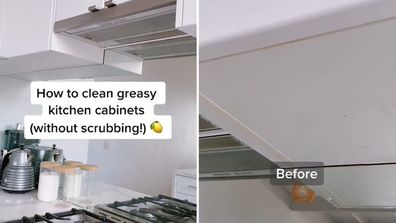 Woman shares DIY method for cleaning kitchen cabinets