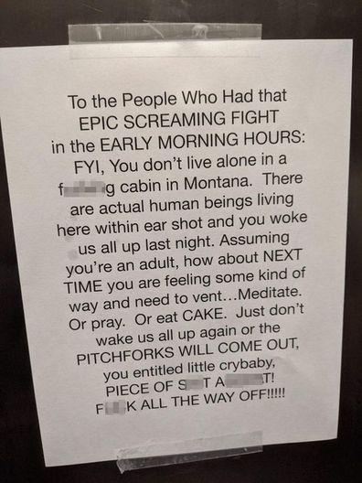 Reddit note neighbour fight left in lift