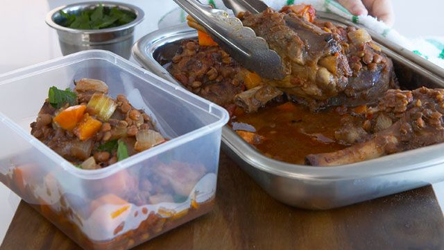 Slow-cooked lamb shanks with lentil ragout