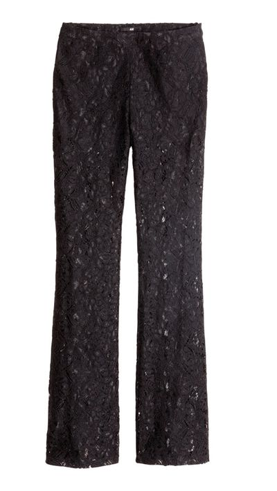 "<a href=""http://www.hm.com/au/product/65543?article=65543-A"" target=""_blank"">Lace Trousers, $69.95, H&M</a>"